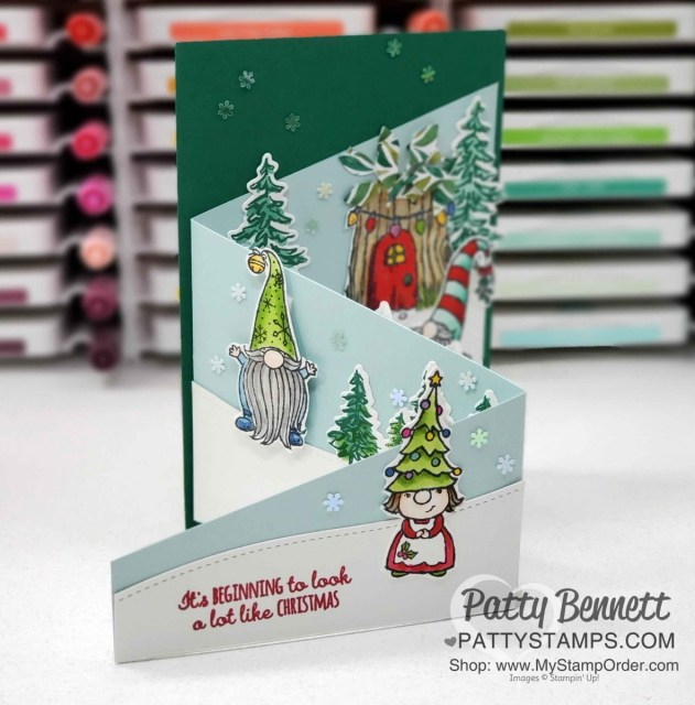 Make a Tri-fold card with 12x12 cardstock and Gnome for the Holidays stamp set from Stampin' Up!. Video tutorial by Patty Bennett