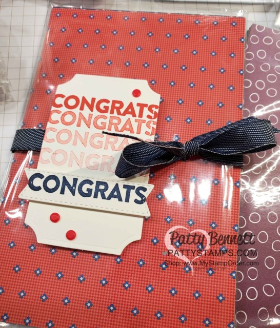Congrats tag featuring Stampin' Up! You are Amazing stamp set and Well Suited designer paper! www.PattyStamps.com