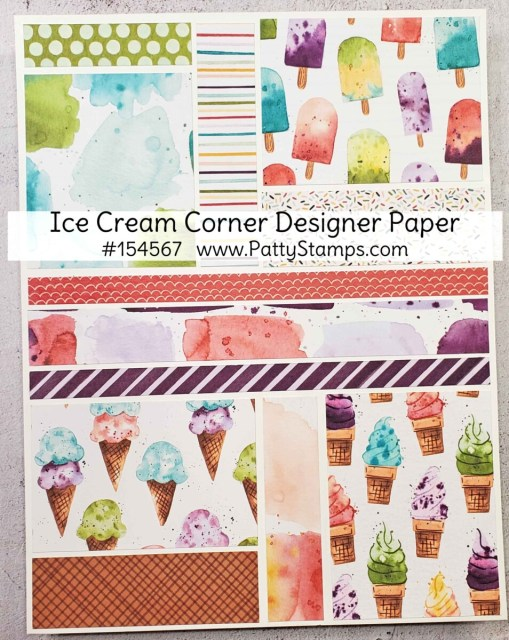 Ice Cream Corner designer paper from Stampin Up! #154567 www.PattyStamps.com