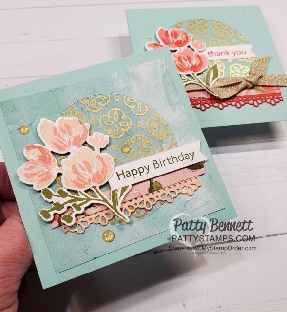 Square Birthday card idea featuring Stampin' Up! Golden Garden Specialty Acetate and Fine Art Floral suite / Art Gallery Bundle by Patty Bennett www.PattyStamps.com
