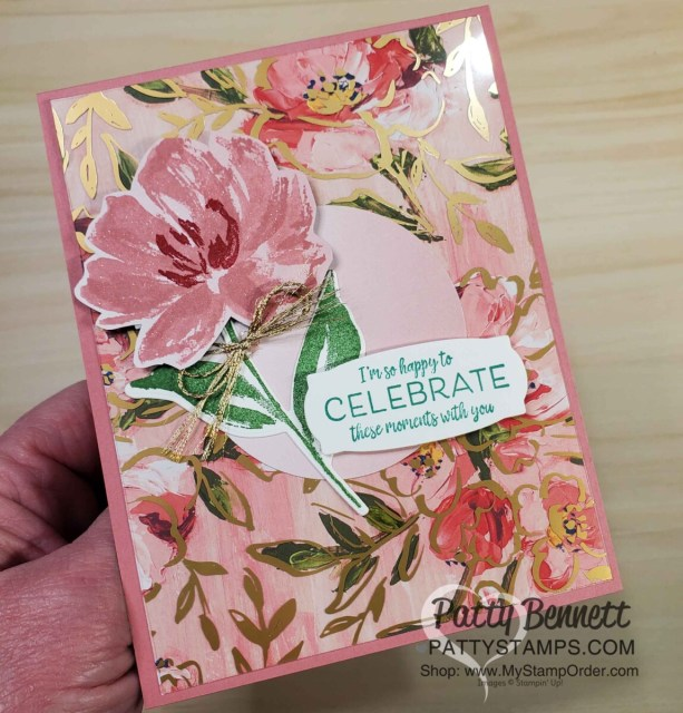 How to use the Golden Garden acetate overlay on Fine Art Floral designer paper to make a card with Rococo Rose cardstock! Stampin' UP! card making supplies, www.PattyStamps.com