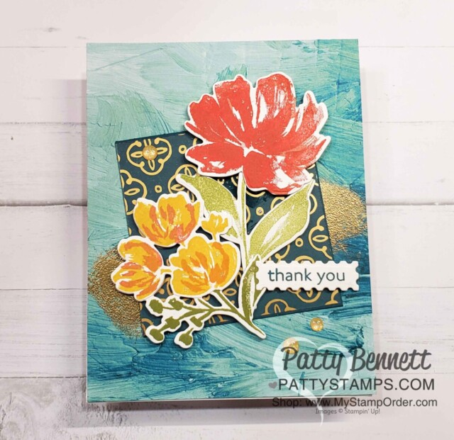Golden Garden Acetate card idea featuring Stampin UP! Fine Art Floral suite and Art Gallery bundle, by Patty Bennett www.PattyStamps.com
