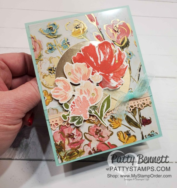 Golden Garden Acetate overlay card idea featuring Stampin UP! Fine Art Floral suite and Art Gallery bundle, by Patty Bennett www.PattyStamps.com