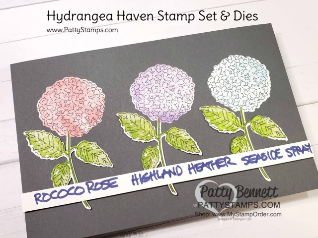 Hydrangea Haven stamp set and dies (bundle #156251) with Rococo Rosem Highland Heather and Seaside Spray ink, from Patty Bennett featuring Stampin' Up! 2021 mini catalog products. www.PattyStamps.com