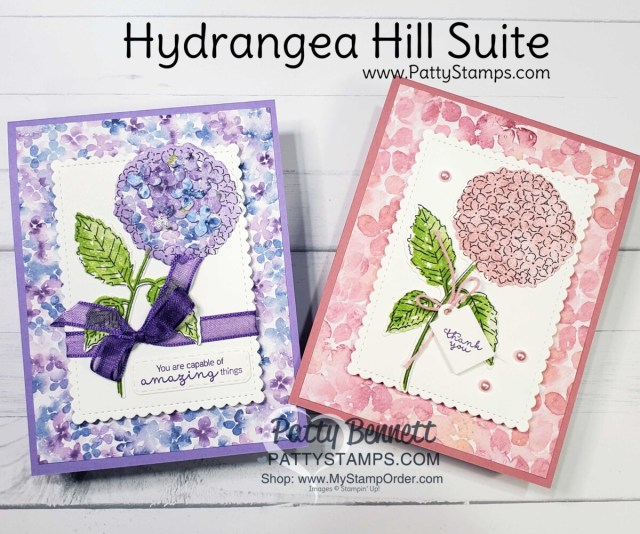 Hydrangea Hill Suite card ideas from Patty Bennett featuring Stampin' Up! 2021 mini catalog stamps, paper and accessories. www.PattyStamps.com
