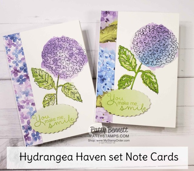Hydrangea Haven stamp set note card ideas featuring die cut pieces from the Hydrangea dies, Hydrangea Hill designer paper and Oh So Ombre Sale-a-Bration paper. www.PattyStamps.com