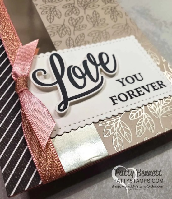 Clean and Simple Anniversary card idea featring Love You Always specialty foil from Stampin' Up!.  by Patty Bennett www.pattystamps.com