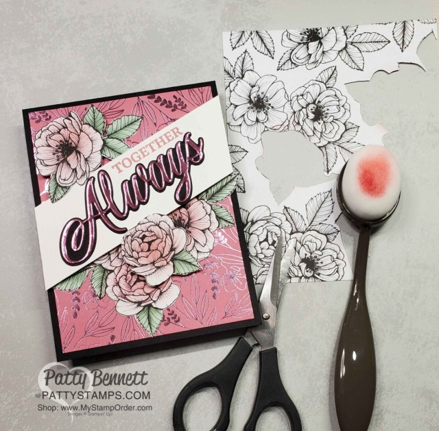 Stampin Up! Love You Always specialty foil paper card featuring flowers colored with Blending Brushes from True Love DSP by Patty Bennett www.PattyStamps.com