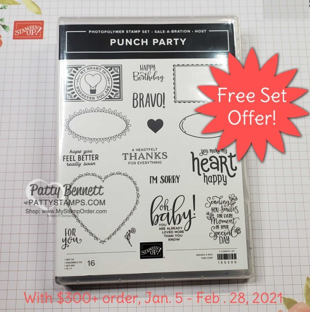 Punch Party stamp set Stampin' Up! Sale-a-Bration 2021 free gift offer with $300+ order. www.PattyStamps.com