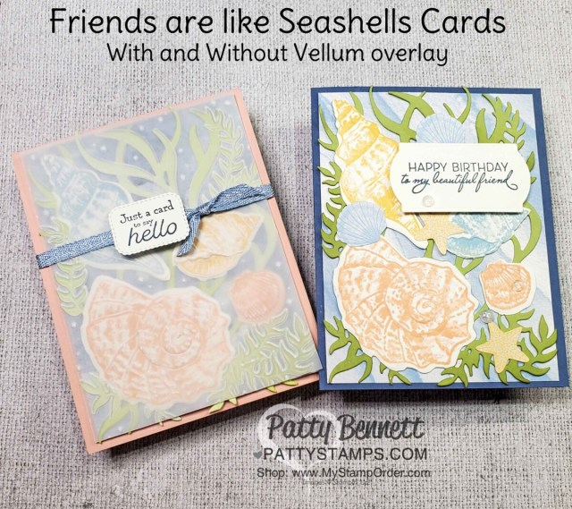 Handmade card ideas featuring the Stampin' Up! Sand & Sea suite, Friends are like Seashells bundle and the Seaside Shells embossing folder. Video product review by Patty Bennett www.PattyStamps.com