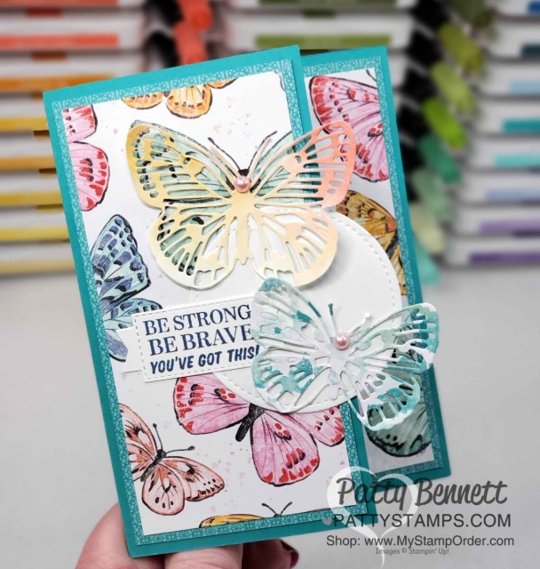 Butterfly Brilliance stamp set and die bundle from Stampin' UP! Die cut Butterfly Bijou designer paper - card idea by Patty Bennett