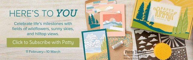 Free Stencil and sponge gift with the March 2021 Stampin Up! Paper Pumpkin card making kit. www.pattystamps.com