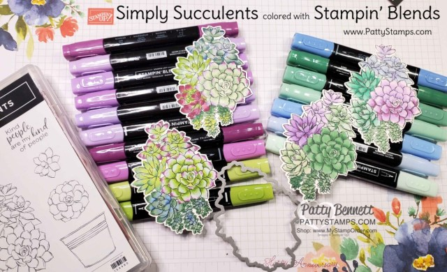 Coloring Simply Succulents stamp set with Stampin' Blends markers, by Patty Bennett www.PattyStamps.com