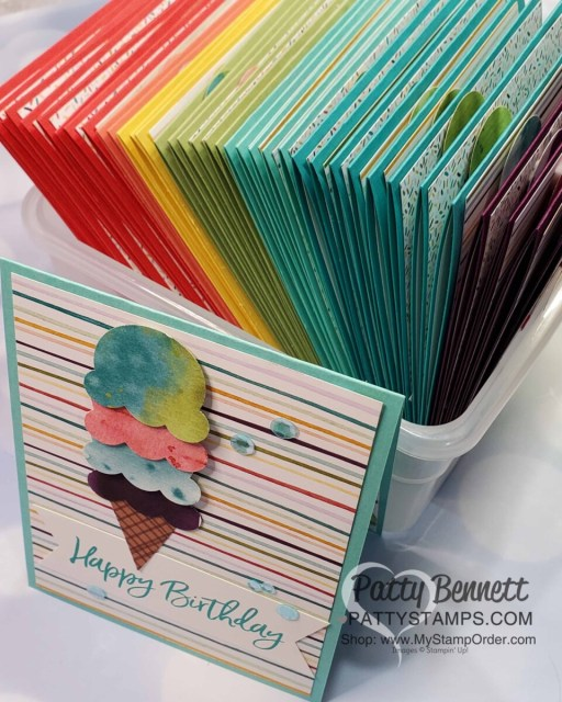 A rainbow of Birthday Cards featuring Ice Cream Corner Suite from Stampin' Up!. Ice Cream Cone builder punch and Ice Cream Corner designer paper. www.PattyStamps.com