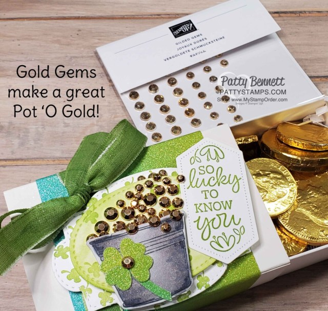 Love You Always Treat Box for St. Patrick's day with pot of gold, featuring Rainbow Glimmer paper and Gold Gems, by Patty Bennett