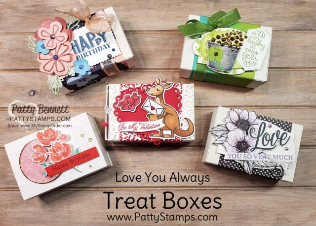5 Treat Box ideas featuring Stampin' Up! papercrafting supplies, for birthday, Valentine's and St. Patrick's day, by Patty Bennett www.PattyStamps.com