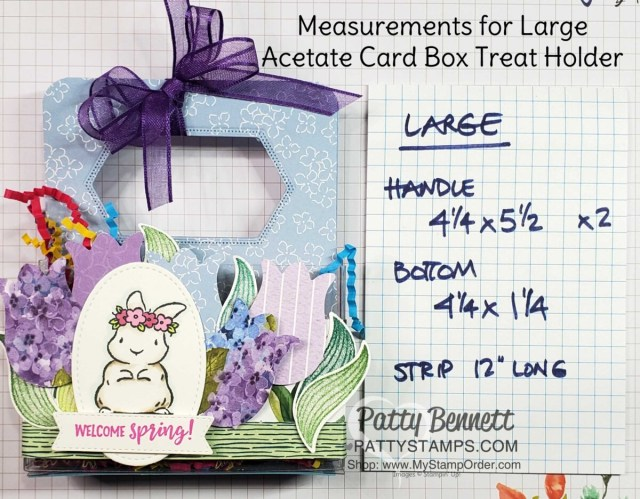 Measurements for the Acetate Card Box treat idea for spring or Easter featuring the Stampin' UP! Tulip Punch, Springtime Joy set and Hydrangea Hill designer paper, by Patty Bennett