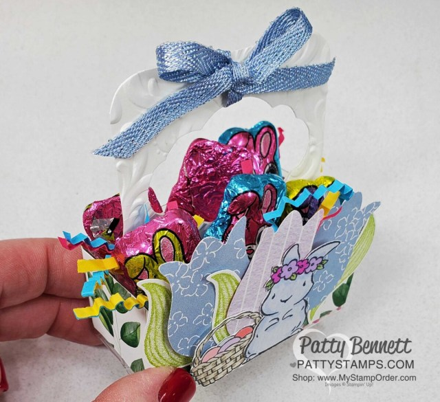3x3 Acetate Box treat idea for spring or Easter featuring the Stampin' UP! Tulip Punch and Hydrangea Hill designer paper, by Patty Bennett