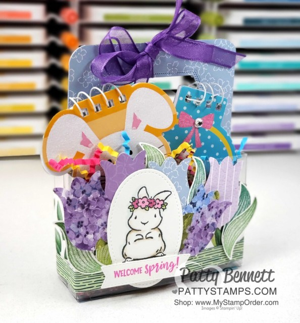 Acetate Card Box treat idea for spring or Easter featuring the Stampin' UP! Tulip Punch, Springtime Joy set and Hydrangea Hill designer paper, by Patty Bennett