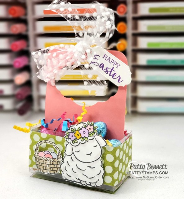 Springtime Joy Stampin' UP! set with small 3x3 Acetate Box Easter Treat, by Patty Bennett www.pattyStamps.com