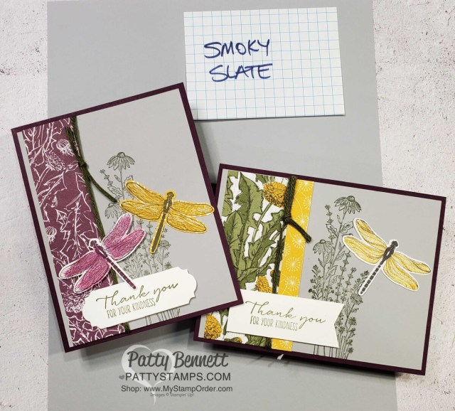 Dragonfly card idea featuring Stampin' Up! Dandy Garden suite, Dragonflies punch and Smoky Slate cardstock, by Patty Bennett
