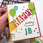 Playful Alphabet dies create a great personalized birthday card! Featuring Happy Dies and rainbow glimmer paper from Stampin
