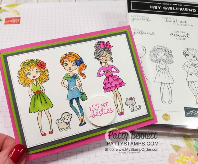 Colorful and fun Hey Girl card idea featuring coloring with Stampin' Blends markers by Patty Bennett www.PattyStamps.com
