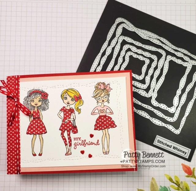 Paper Piecing with Snail Mail heart designer paper pattern on the Hey Girl stamp set, it's like paper dolls!  Stitched Whimsey dies make a cute border. www.PattyStamps.com