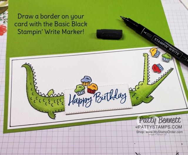 I felt there was a little too much white space on this card, so I used my Black Stampin' Write marker to draw a border!