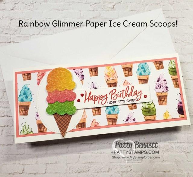 Cute Rainbow Paper Ice Cream Cone birthday card - slimline card with Stampin UP! Ice Cream Corner designer paper. by Patty Bennett
