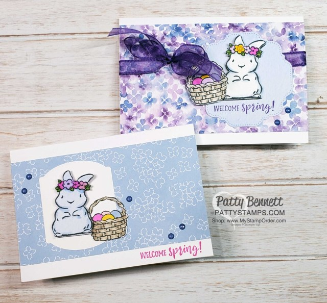 Great Springtime Joy note cards featuring Stampin' Up! Hydrangea Hill designer paper, and Stampin' Blends to color the bunny and basket. cards by Patty Bennett