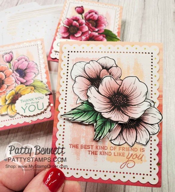 Color the black and white flowers on the True Love designer paper from Stampin' Up! with Stampin' Up! Blending Brushes. By Patty Bennett www.pattystamps.com