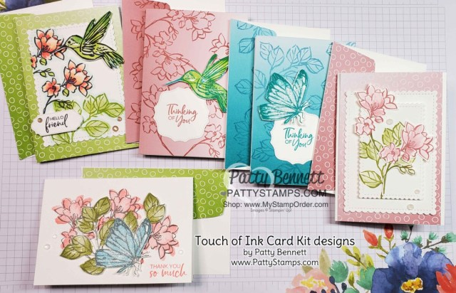 Card Designs by Patty Bennett for the Touch of Ink card kit offer from Patty Bennett includes Oh So Ombre paper and supplies to make 10 cards. www.PattyStamps.com