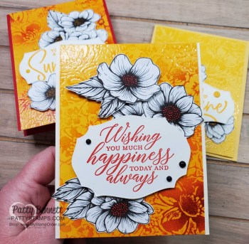 Emboss Resist Wild Roses Background Cards