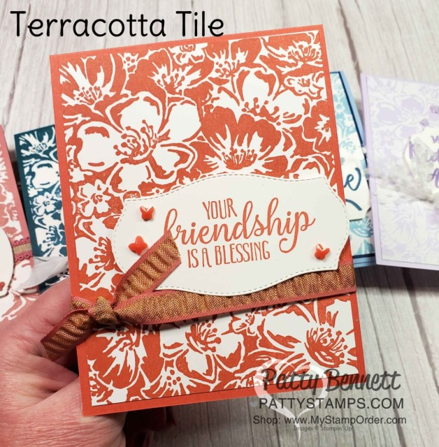 Retiring Stampin' Up! 2019-2021 In Colors.  Card Idea featuring the Wild Roses background stamp with Terracotta Tile ink and cardstock, by Patty Bennett www.PattyStamps.com