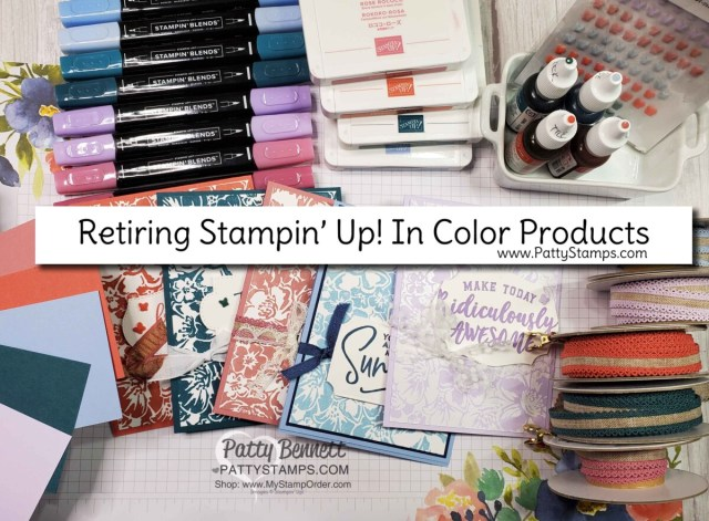 Retiring Stampin' Up! 2019-2021 In Colors. Wild Roses background stamp card by Patty Bennett. Retiring cardstock, ribbon, butterfly embellishments, Stampin' Blends, reinkers and markers.