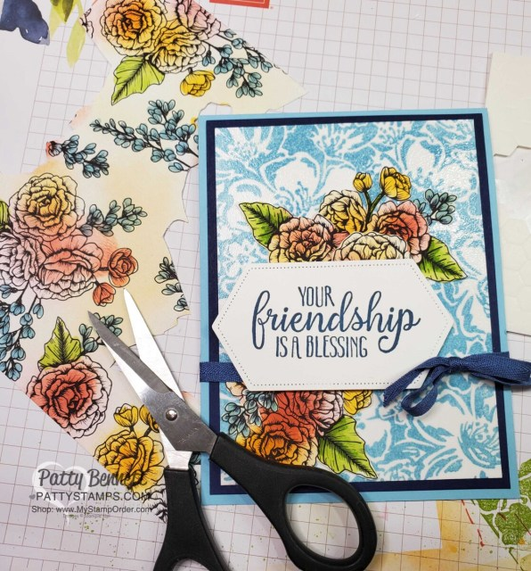 Wild Rose background stamp with clear embossing over stamped image. Color True Love DSP with Blending Brushes and fussy cut with Paper Snips. Card by Patty Bennett www.PattyStamps.com
