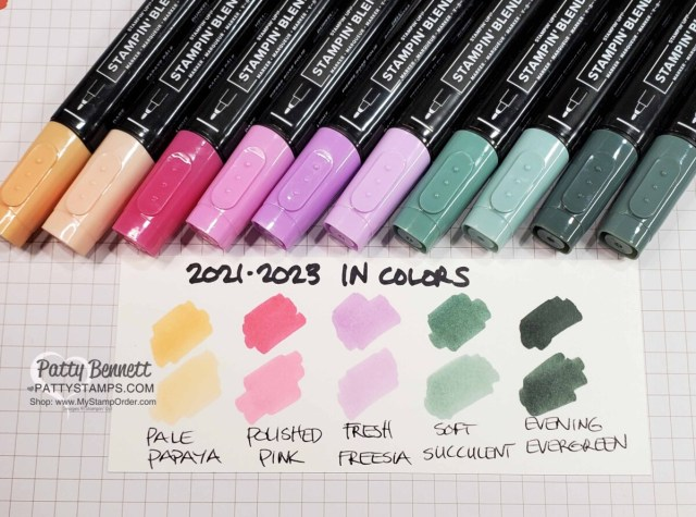 Stampin' Up! new In Colors 2021 2023 Stampin' Blends markers: swatches / samples with Patty Bennett