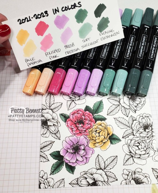 Stampin' Up! new In Colors 2021 2023 Stampin' Blends markers: swatches / samples with True Love Designer Paper, by Patty Bennett