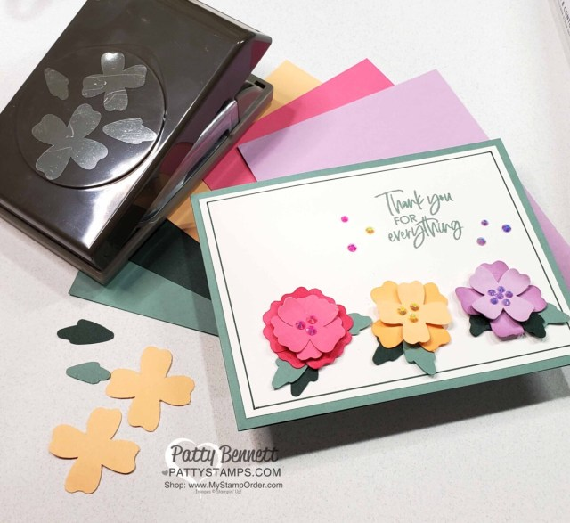 Card idea featuring Flowers & Leaves punch and 2021-2023 Stampin' Up! In Colors by Patty Bennett www.PattyStamps.com