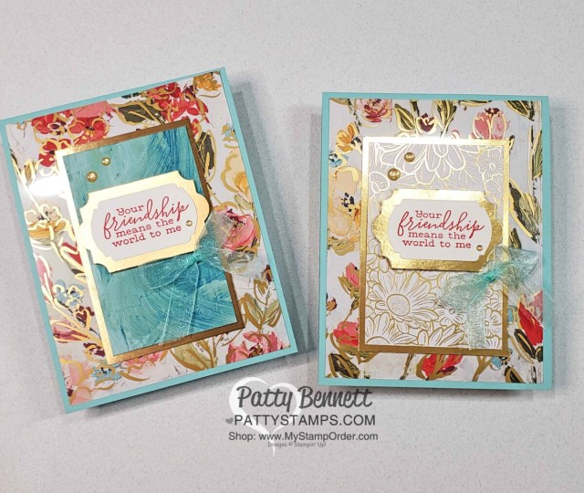 Golden Garden acetate overlay card ideas featuring Stampin' Up! Fine Art Floral designer paper And Ornate Garden gold floral paper, by Patty Bennett www.PattyStamps.com