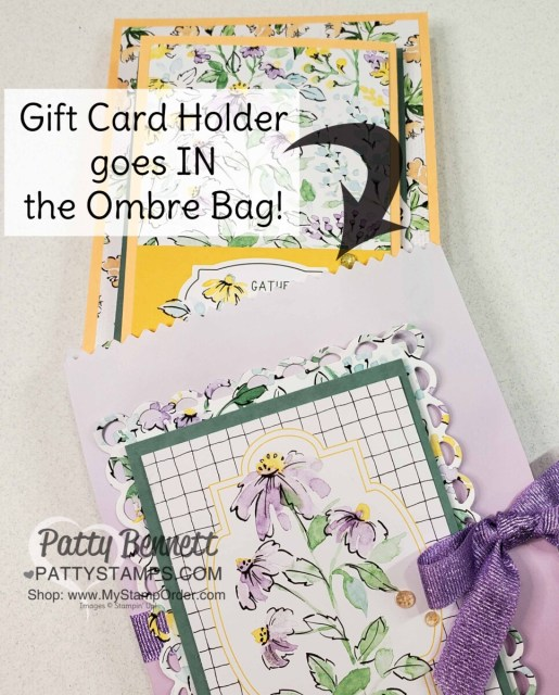 """Fold out gift card holder and beautiful Ombre Bag """"envelope"""" featuring Stampin' Up! Hand-Penned Suite, by Patty Bennett www.PattyStamps.com"""