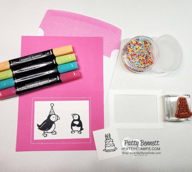 Supplies for: Party Puffins stamp set #155054 from Stampin 'UP!. Shaker card idea by Patty Bennett featuring Treasured Tags punch for the Happy Birthday banner and Stampin Blends marker coloring.