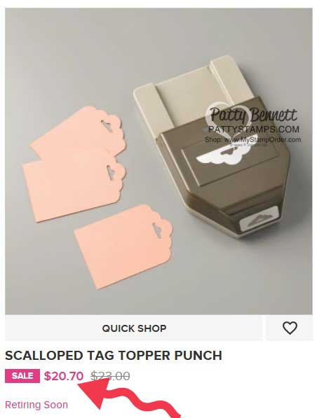 Patty's best selling punch Scalloped Tag Topper 133324 www.PattyStamps.com from Stampin' UP!