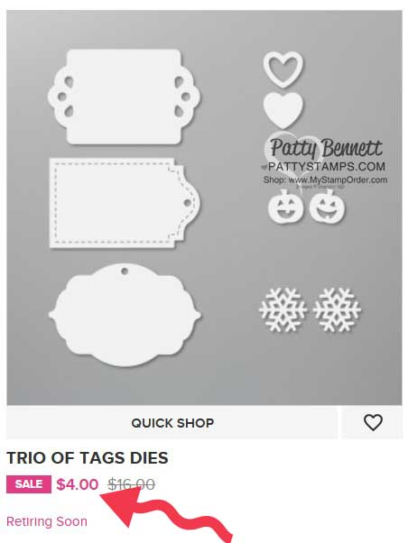 Stampin' Up! retiring Trio of Tags dies 150667 on sale www.PattyStamps.com