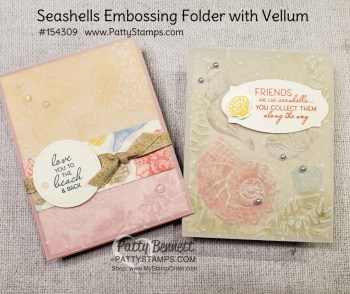 Seashells embossing folder with Vellum