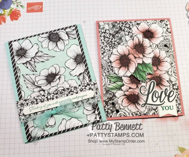 Stampin Blends marker background coloring technique with True Love Designer paper. Stampin' Up! card ideas by Patty Bennett www.PattyStamps.com