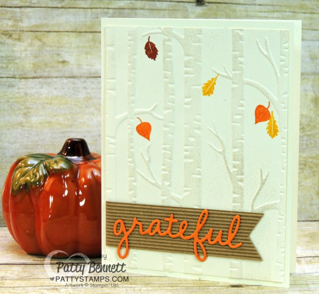 Woodland embossing folder background fall leaf card idea by Patty Bennett www.PattyStamps.com