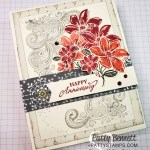 Elegantly Said stamp set and Simply Elegant designer paper card featuring Flowers colored with Stampin