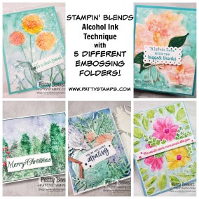 Alcohol Ink Technique with 5 different Embossing Folders